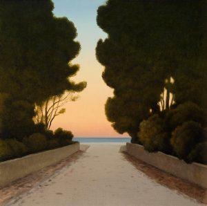 Dark pines, evening sea